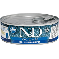 Farmina N&D Cat Ocean Codfish, Shrimp & Pumpkin Kitten 12x80g