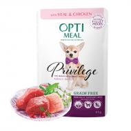 OPTIMEAL Dog Adult & Senior Small Breed Grain Free Veal & Chicken Fillet in Gravy