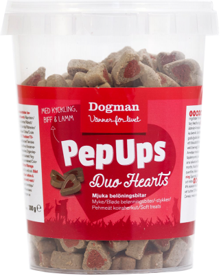 Dogman Pep Ups Duo Hearts Kylling Biff og Lam 300 g