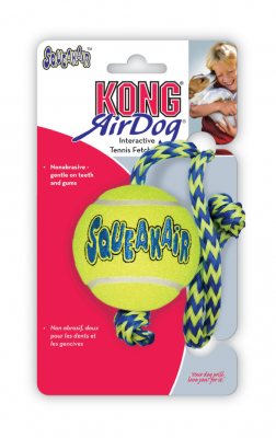 Kong AirDog Squeaker Hundeball med Tau Medium