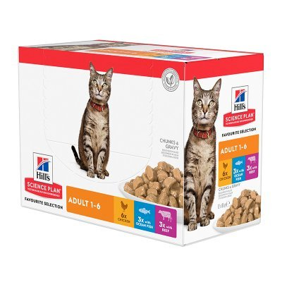 Hill's Science Plan Cat Adult Favourite Selection våtfôr 12 x 85g