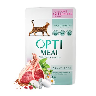 OPTIMEAL Cat Adult & Senior Lamb & Veggies in Jelly