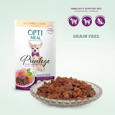 OPTIMEAL Dog Adult & Senior Small Breed Grain Free Turkey, Liver & Pumpkin in Jelly