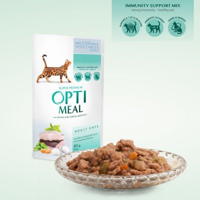 OPTIMEAL Cat Adult & Senior Codfish and Veggies in Jelly
